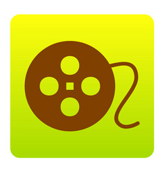 Film circular sign brown icon at green vector