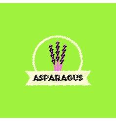 Flat icon design collection asparagus emblem vector