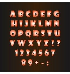 Glowing alphabet on a dark background vector image