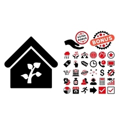 Greenhouse building flat icon with bonus vector