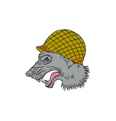 Grey wolf head growling ww2 helmet drawing vector
