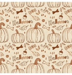 Hallowen hand-drawn seamless pattern vector