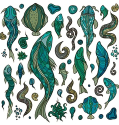 Hand crafted collection of marine creatures vector