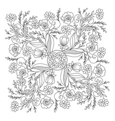 Hand drawn floral coloring page vector