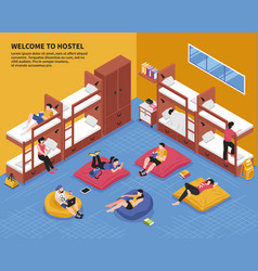 Hostel bedroom isometric vector