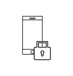 Locked phone icon vector