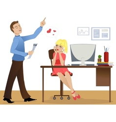 Love story at work vector image