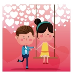 Lovely boy pushing girl swing happy heart vector
