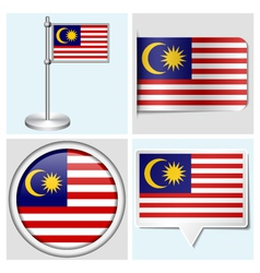 Malaysia flag - sticker button label flagstaff vector image vector image
