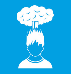 Man with red cloud over head icon white vector
