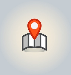 Map and the pin web icon vector image