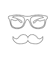 Mustache and glasses sign black dashed vector