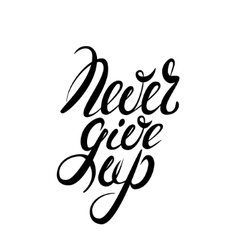 Never give up lettering vector image vector image