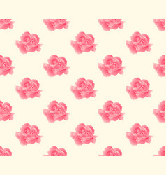 Pink carnation seamless on beige ivory background vector