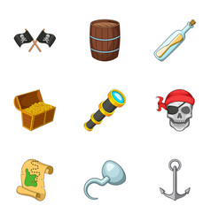 Pirate equipment icons set cartoon style vector