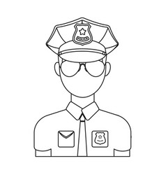 police officer icon in outline style isolated on vector image vector image