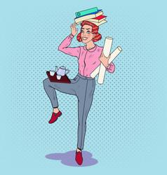 Pop art multitasking business woman at work vector
