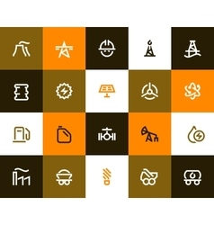 Power generation and oil industry icons flat vector