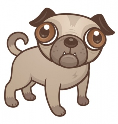 pug puppy cartoon vector image vector image