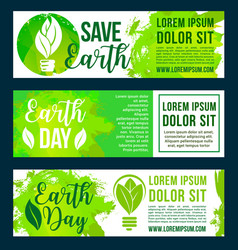 Save nature and earth environment banners vector
