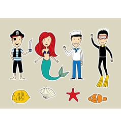 Sea heroes vector image