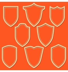 Set of white shield icons Outline security signs vector image