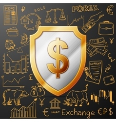 Shield with dollar sign and exchange doodle icon vector