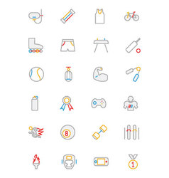 Sports colored outline icons 2 vector