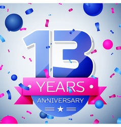 Thirteen years anniversary celebration on grey vector image vector image