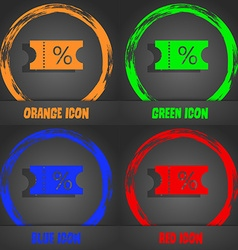 Ticket discount icon sign fashionable modern style vector