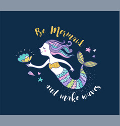 under the sea - little mermaid vector image