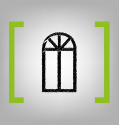 Window simple sign black scribble icon in vector