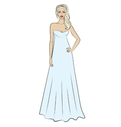 Woman in evening dress vector
