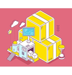Yellow box hourglass and three dimension vector