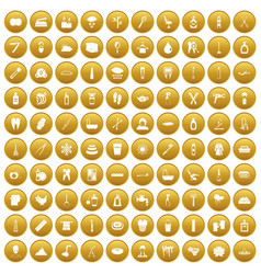 100 hygiene icons set gold vector