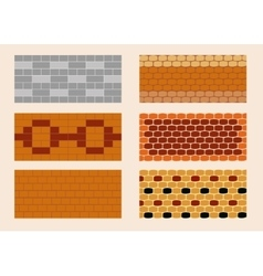 Different color and pattern of the brick laying vector