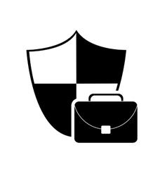 Shield and briefcase icon vector