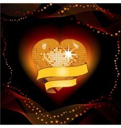 disco heart shield vector image