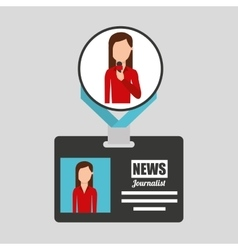 Woman journalist card news graphic vector