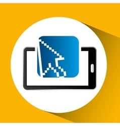 Mobile phone icon cursor social media vector
