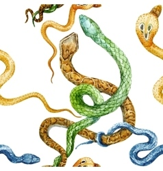 Watercolor snake and flowers pattern vector
