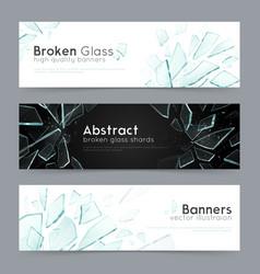 broken glass 3 decorative banners vector image