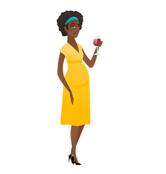 Young pregnant woman holding a glass of wine vector