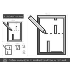 Apartment plan line icon vector