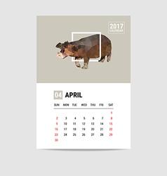 2017 april calendar hippopotamus polygon vector