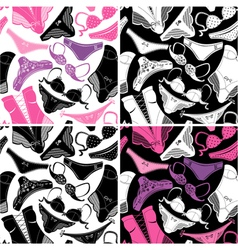 Set of seamless patterns - silhouettes of glamor vector