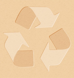 Realistic recycled paper with recycling symbol vector