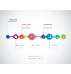 Horizontal timeline infographics from a link of vector