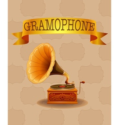 Retro gramophone design on pattern background vector