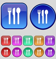 Fork knife spoon icon sign a set of twelve vintage vector